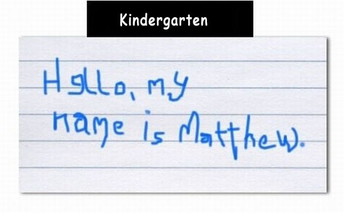 How Our Handwriting Changes with Time (4 pics)
