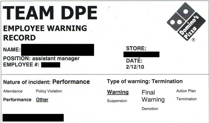 Domino's Pizza Employee Warning Record (1 pic)