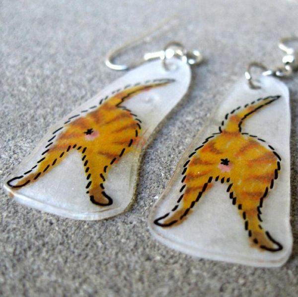 Orange Tiger Catbutt Earrings (5 pics)