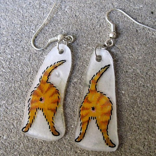 Orange Tiger Catbutt Earrings (5 pics)