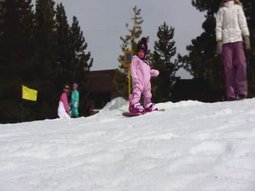 1-Year-Old on a Snowboard