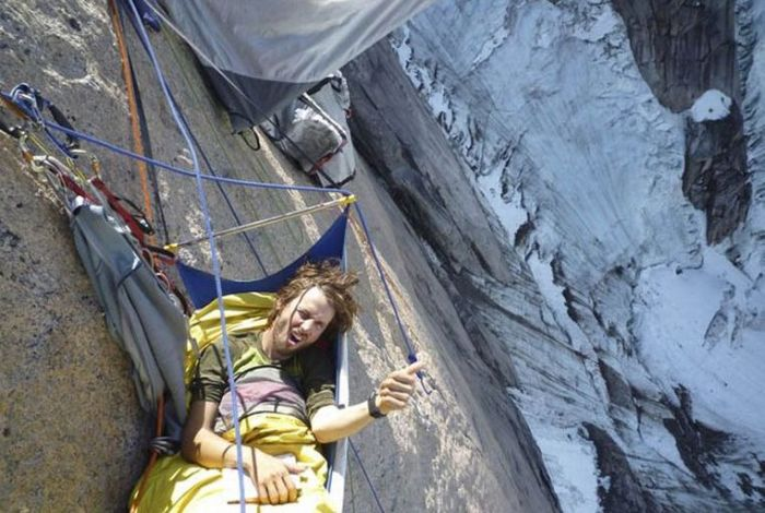 acampar mientras escalas