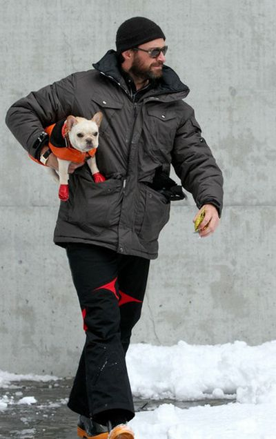 Hugh Jackman and His French Bulldog, Peaches (24 pics)