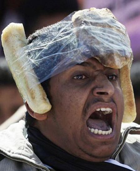 Egyptian Protesters' Makeshift Helmets (10 pics)