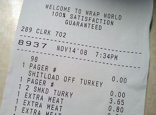 The Funniest Receipts Of All Time (15 pics)