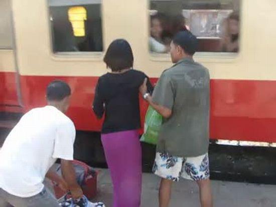 Boarding a Train in Burma