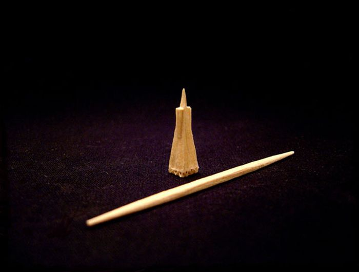 Tiny Sculptures Made From A Single Toothpick (8 pics)