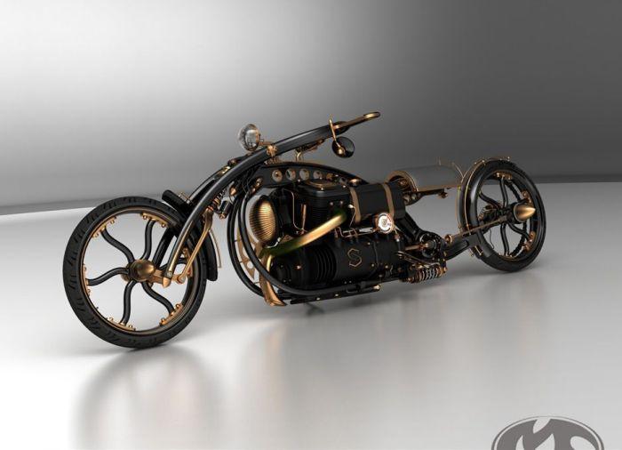 Black Widow Steampunk Chopper Extreme Custom Motorcycle Mod (7 pics)
