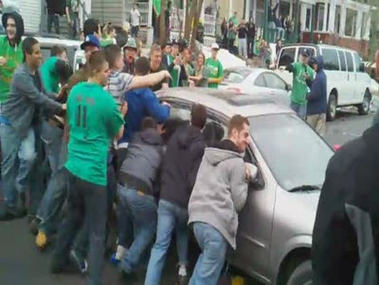 Drunk University of Albany Students Destroy Cars