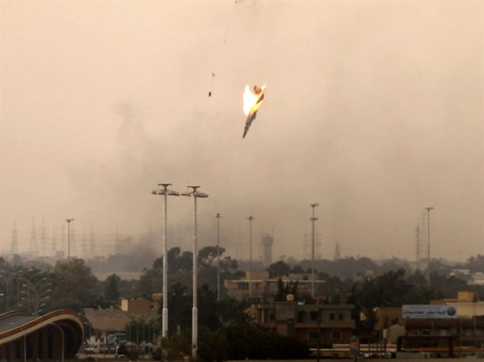 Libyan Jet Crashes after Being Shot Down in Benghazi (3 pics)