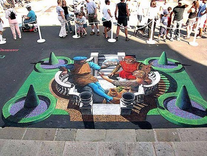 3D en el piso de las calles