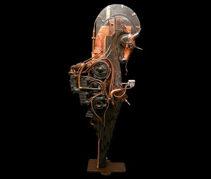 stunning steampunk sculptures by pierre matter 28 pics. Black Bedroom Furniture Sets. Home Design Ideas