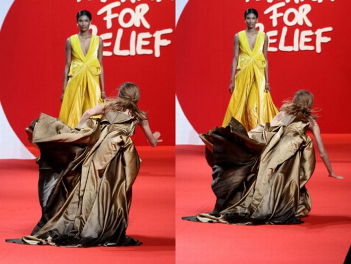 Model Falls Three Times on the Catwalk (8 pics + 1 video)