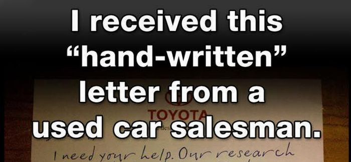 Letter From Used Car Salesman (1 pic)