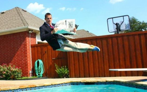 Funny Photos of Mid-Air Poses Above the Pool (49 pics)