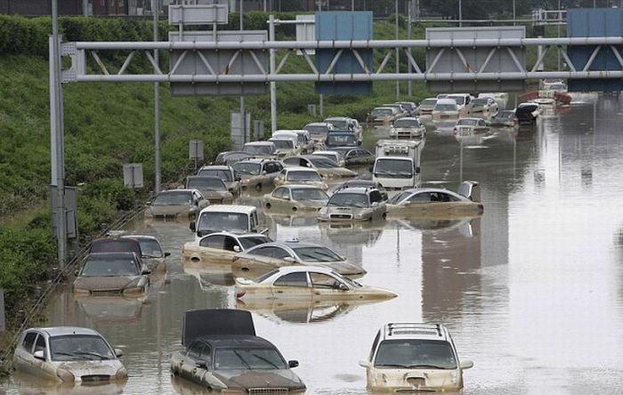 Heaviest Rains in Century in South Korea (14 pics + video)