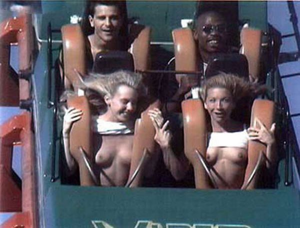 Tits on roller coaster