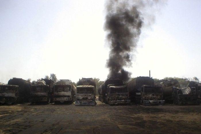 NATO Oil Tanker Exploded In Pakistan (29 pics)