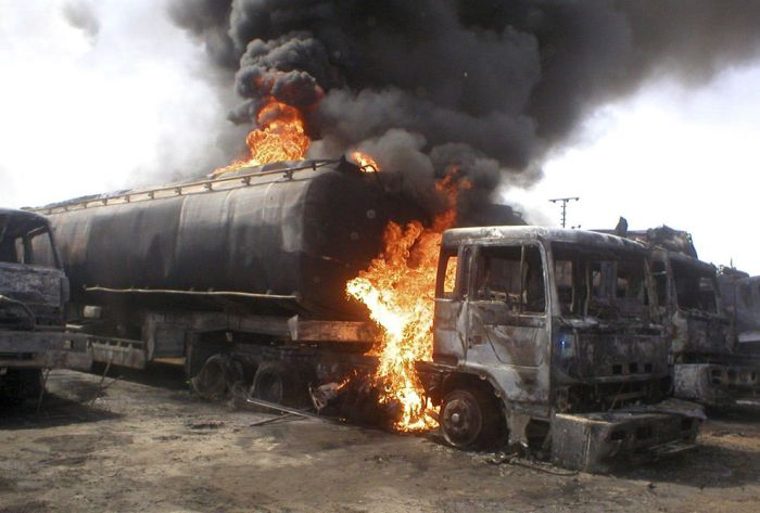 NATO Oil Tanker Exploded In Pakistan (29 pics)