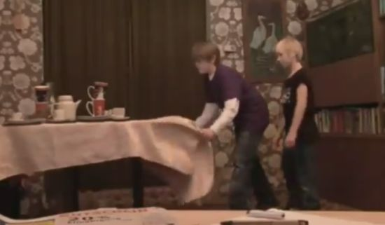 Funny Kids Tablecloth Trick Fail (video)