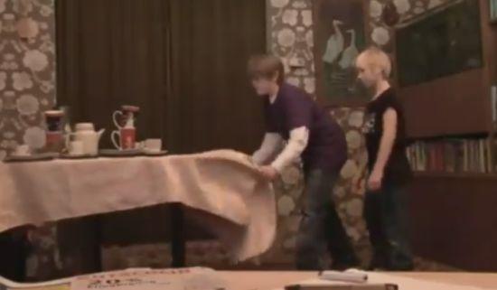 Funny Kids Tablecloth Trick Fail (video)