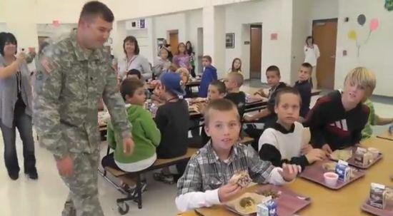 Soldier Surprises His Son