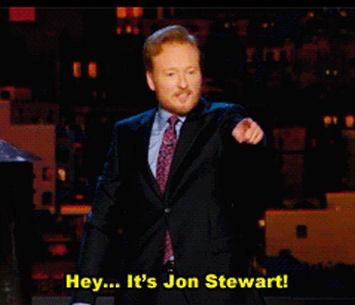 Jon Stewart Visits Conan O'Brien (6 gifs)
