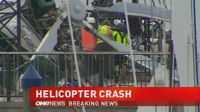 Pilot Escaped Helicopter Crash (7 pics + video)