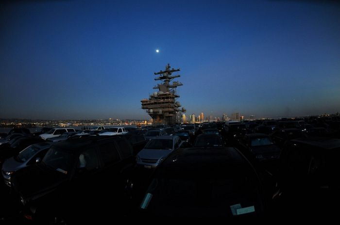 USS Ronald Reagan Transports Cars (7 pics)