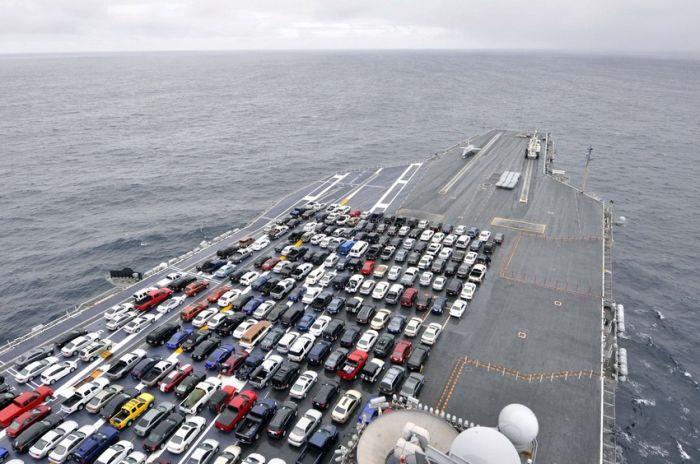 USS Ronald Reagan Transports Cars (7 pics)