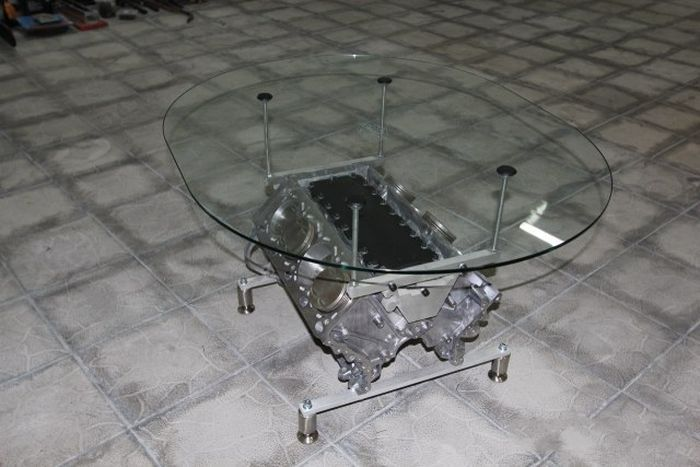 Custom V-Engine Glass Table (15 pics)
