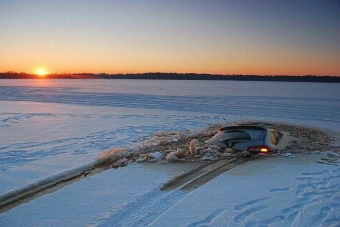 Frozen Lake Driving Gone Bad (4 pics)