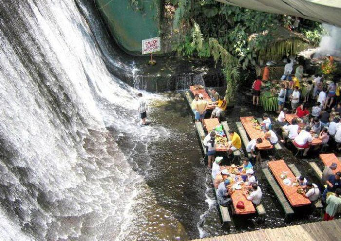 Waterfalls Restaurant in Villa Escudero, Philippines (12 pics + video)