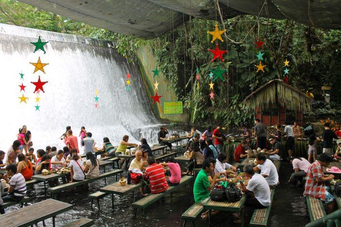 Waterfalls Restaurant in Villa Escudero, Philippines (12 pics + video)