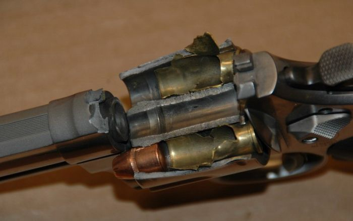 44 Magnum Demolished by Chinese Made Ammo (4 pics)