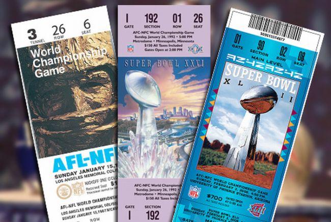 Every Super Bowl Ticket Ever (46 pics)