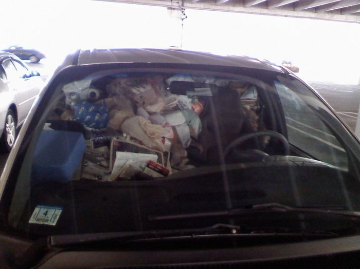 Car Full of Garbage (2 pics)