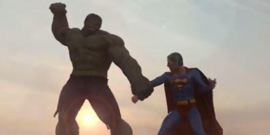 Epic Superman vs Hulk Fight