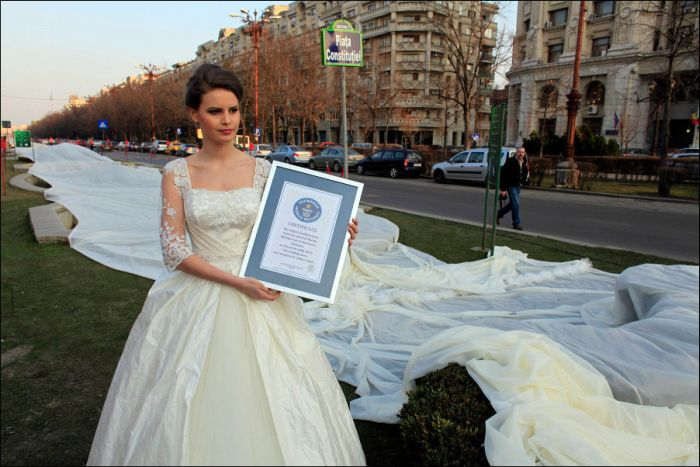 Longest Wedding Dress Train (4 pics)