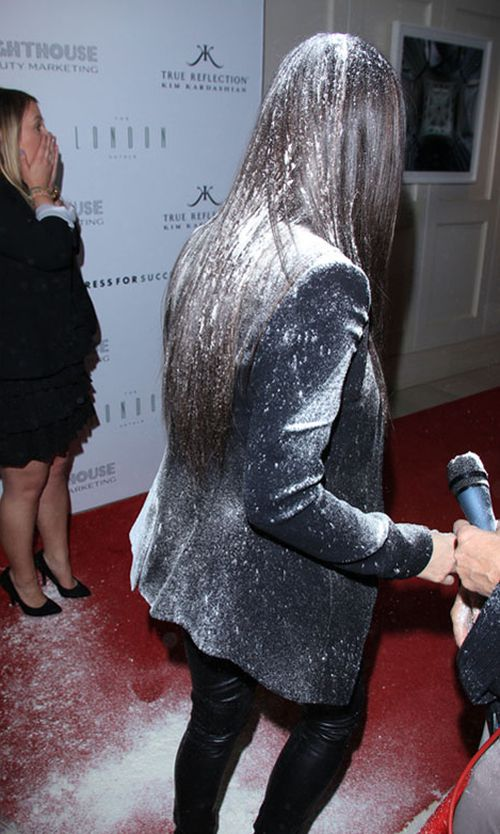Kim Kardashian Flour Bombed (3 pics + video)