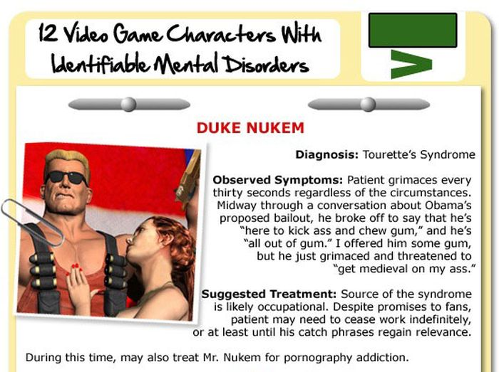 Video Game Characters with Identifiable Mental Disorders (11 pics)