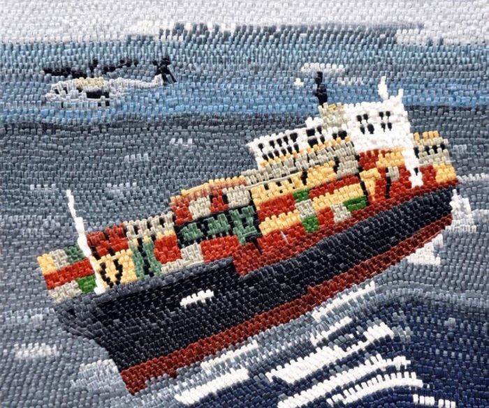 Painted Needlepoint Ship Wreck Art (13 pics)