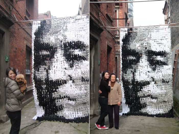 Portrait Made of Socks Bamboo Sticks and Pins (10 pics)