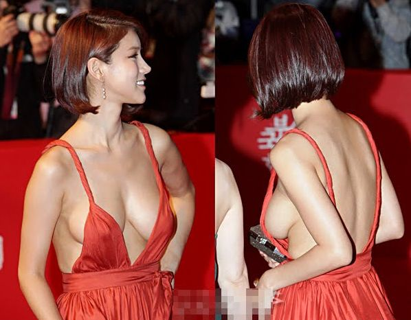 Korean Actress Oh In Hye Wearing Sexy Orange Dress (16 pics)