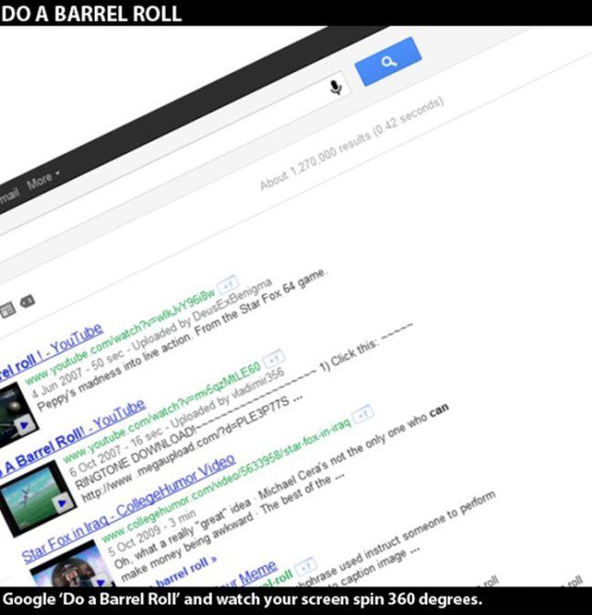 Google Barrel Roll >> Google Secret Commands (9 pics)