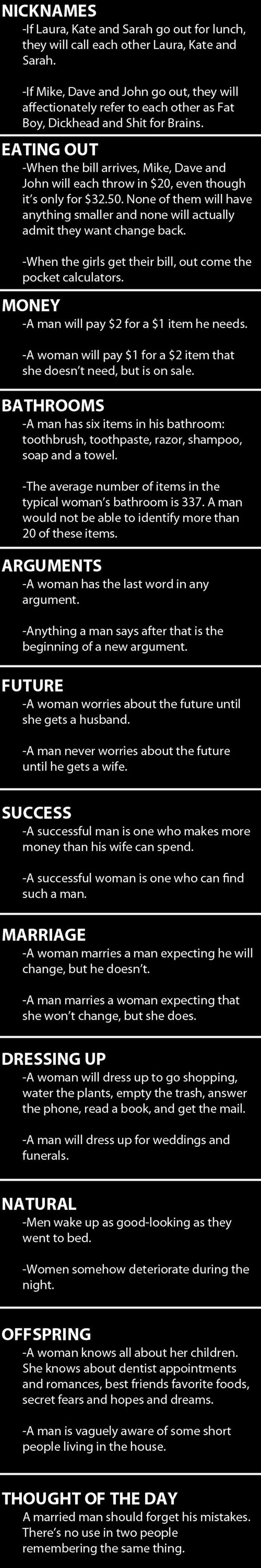 Men vs. Women (2 pics)
