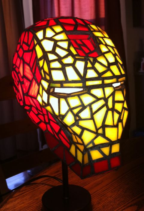 Awesome Iron Man Stained Glass Lamp.