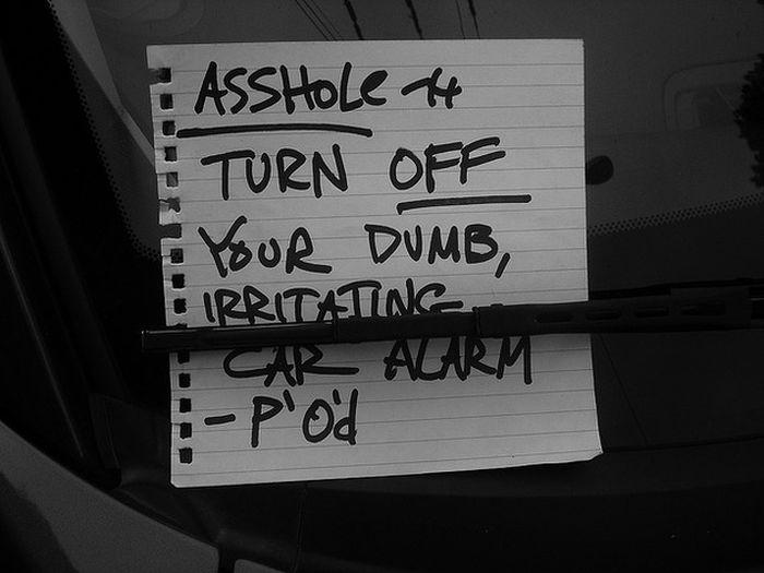 Passive Aggressive Car Alarm Notes (14 pics)