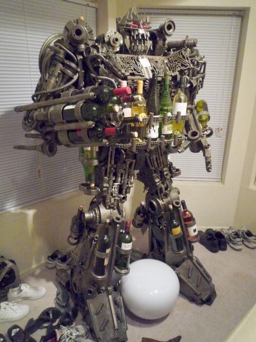 Transformer-style Wine Rack (6 pics)