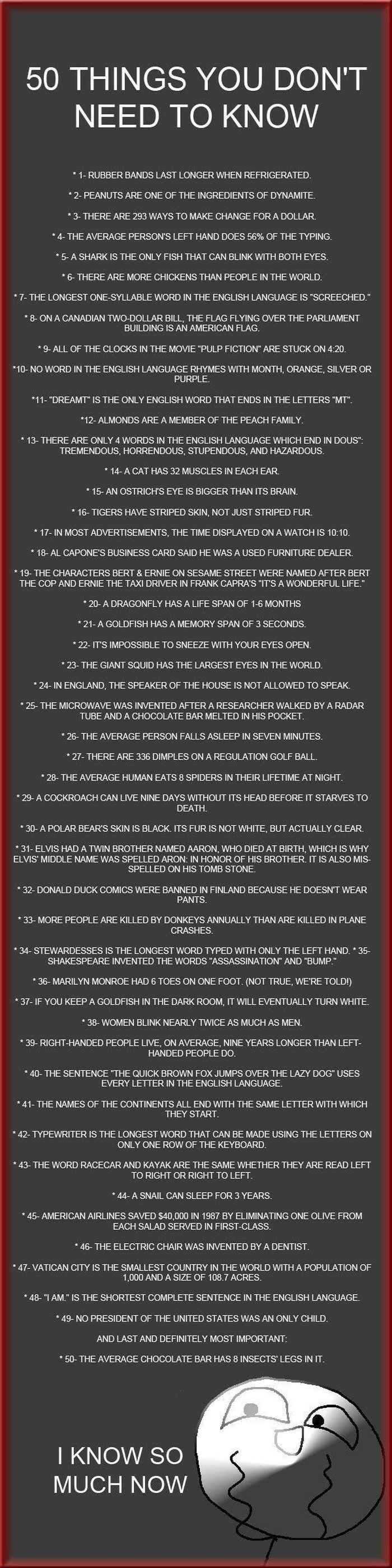 50 Useless Facts (1 pic)